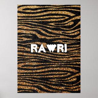 Gold zebra stripe pattern (faux glitter bling) poster
