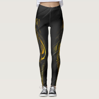Gold Zebras on Black/Gray Leggings