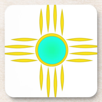 Gold Zia Sun Symbol Drink Coaster