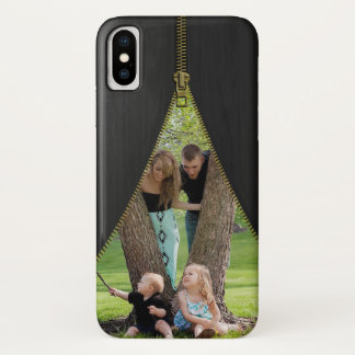 Gold Zipper Photo Template On Faux Black Wood iPhone X Case