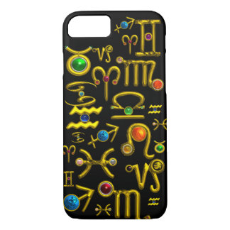 GOLD ZODIAC BIRTHDAY JEWELS,GEMSTONES,ASTROLOGY iPhone 8/7 CASE