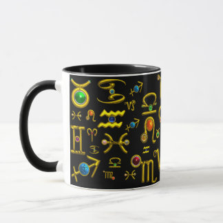 GOLD ZODIAC BIRTHDAY JEWELS,GEMSTONES,ASTROLOGY MUG