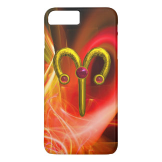 GOLD ZODIAC SIGN ARIES, Red Yellow Fractal Swirls iPhone 7 Plus Case
