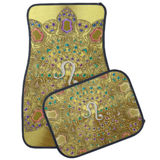 Gold Zodiac Sign Leo Mandala Car Mat