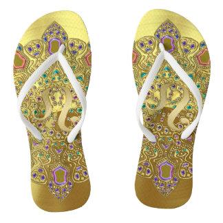Gold Zodiac Sign Leo Mandala Flip Flops