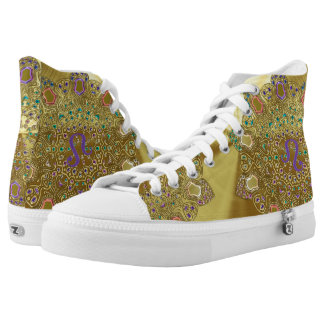 Gold Zodiac Sign Leo Mandala High Tops
