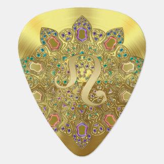 Gold Zodiac Sign Leo Mandala Monogram Guitar Pick