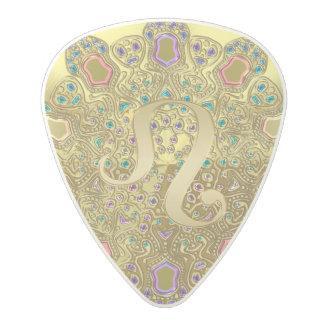 Gold Zodiac Sign Leo Mandala Monogram Polycarbonate Guitar Pick
