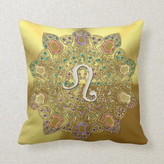 Gold Zodiac Sign Leo Mandala Throw Pillow