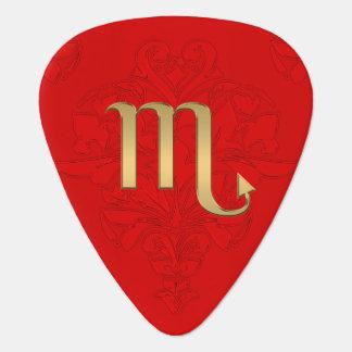 Gold  Zodiac Sign Scorpio Red Monogram Guitar Pick
