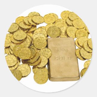 GoldCoinsBar093009 Round Sticker