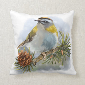 Goldcrest sitting on a spruce branch throw pillow