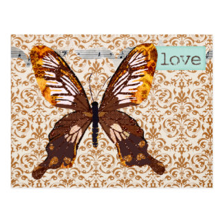 Golddust Butterfly Damask Love Postcard