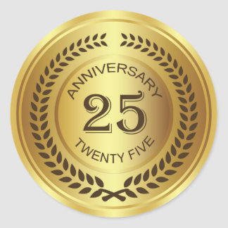 Golden 25th Anniversary with laurel wreath Sticker