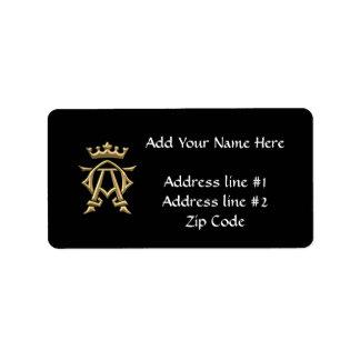 """Golden """"3-D"""" Alpha and Omega w/Crown Symbol Address Label"""