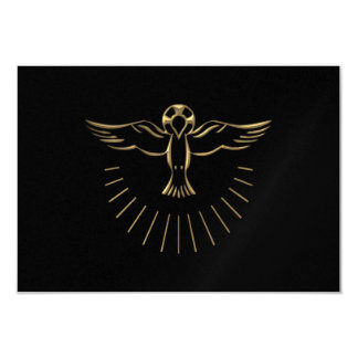 """Golden """"3-D"""" Ascent of The Holy Spirit 3.5"""" X 5"""" Invitation Card"""