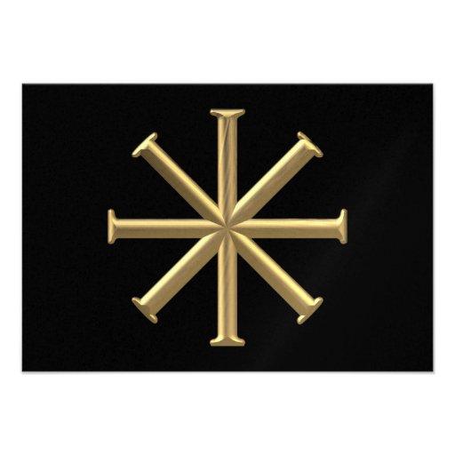 """Golden """"3-D"""" Baptismal Cross Custom Invitations"""