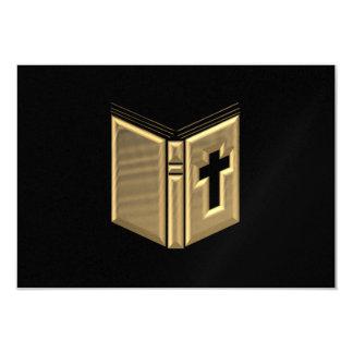 "Golden ""3-D"" Bible / Prayerbook / Hymnal 3.5"" X 5"" Invitation Card"