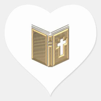 """Golden """"3-D"""" Bible / Prayerbook / Hymnal Heart Sticker"""