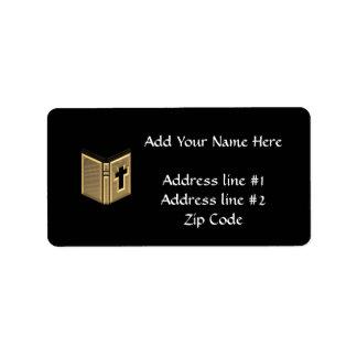 """Golden """"3-D"""" Bible / Prayerbook / Hymnal Address Label"""