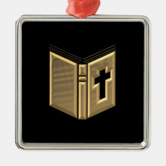 "Golden ""3-D"" Bible / Prayerbook / Hymnal Silver-Colored Square Ornament"