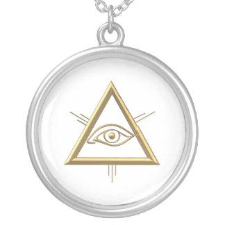 "Golden ""3-D"" God's Eye Symbol Silver Plated Necklace"