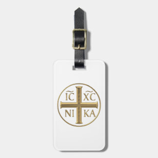 """Golden """"3-D"""" Jesus Christ: Conquers Luggage Tag"""
