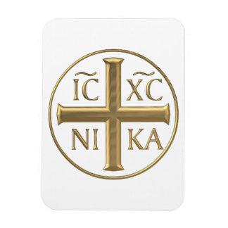 """Golden """"3-D"""" Jesus Christ: Conquers Magnet"""