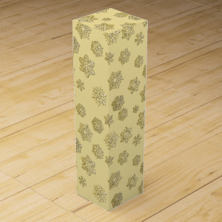 Golden 3-d snowflakes on a gold background wine boxes