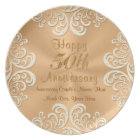Golden 50 Wedding Anniversary Plates Personalized