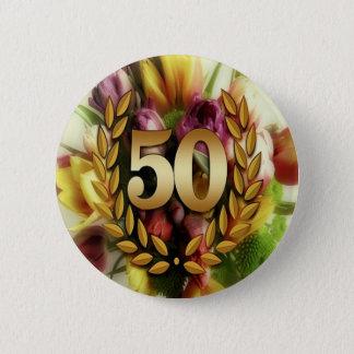 Golden 50TH Anniversary 2 Inch Round Button
