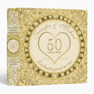 Golden 50th Anniversary Custom Gift 3 Ring Binders