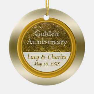 Golden 50th Anniversary | Custom Wedding Keepsake Ceramic Ornament