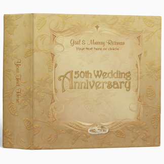 Golden 50th Anniversary - Customize 2 Inch 3 Ring Binder