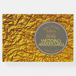 Golden 50th Wedding Anniversary Custom Guest Book