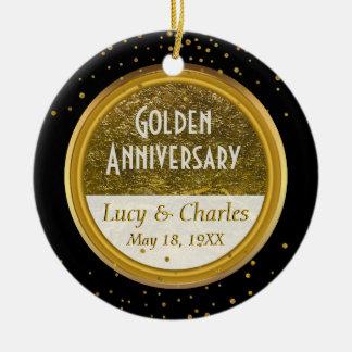 Golden 50th Wedding Anniversary | Custom Keepsake Ceramic Ornament