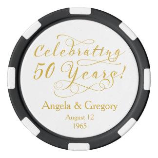 Golden 50th Wedding Anniversary Favor Poker Chips