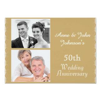 Golden 50th Wedding Anniversary Invitation