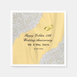 Golden 50th Wedding Anniversary Paper Napkin