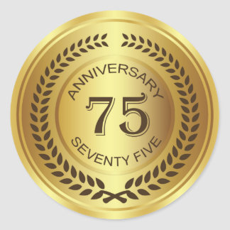 Golden 75th Anniversary with laurel wreath Sticker