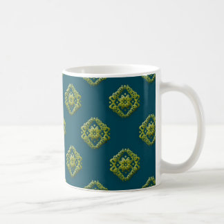 Golden Abstract Flowers On Prussian Blue Mugnifice Coffee Mug