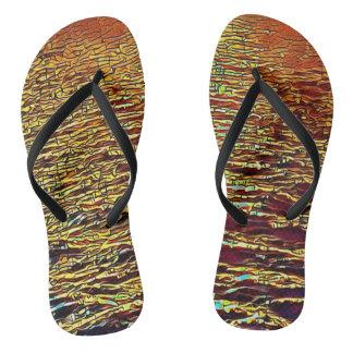Golden Abstract Ocean Waves Novel Flip Flops