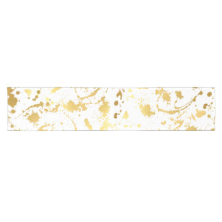 Golden abstract short table runner