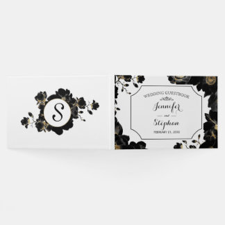 Golden Accented Black Floral Wedding Guestbook