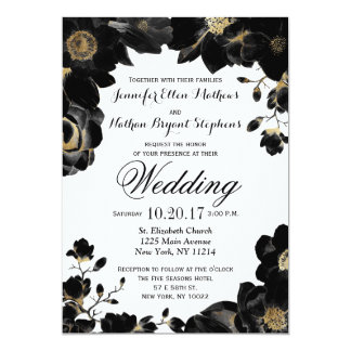 Golden Accented Black Floral Wedding Invitations