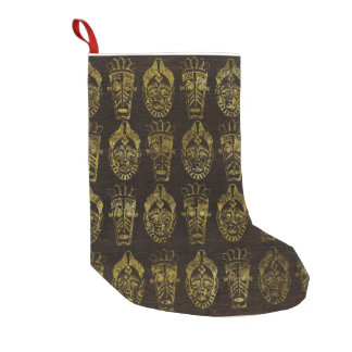 Golden African Masks on Wood Small Christmas Stocking