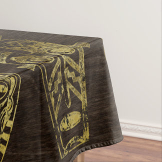 Golden African Masks on Wood Tablecloth