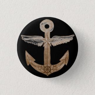 Golden Airship Anchor 1 Inch Round Button