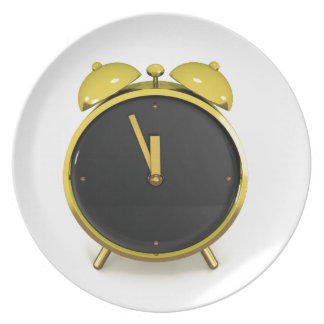 Golden alarm clock plate