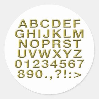 Golden Alphabet Classic Round Sticker